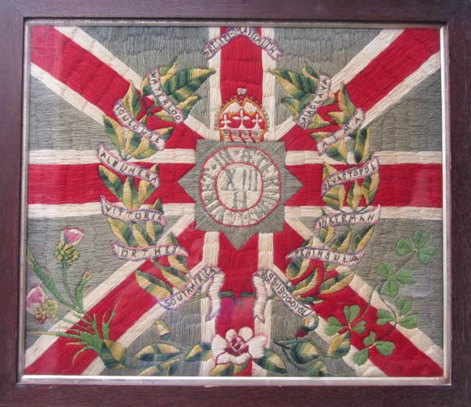 A Victorian Regimental XIII Hussars Woolwork Picture