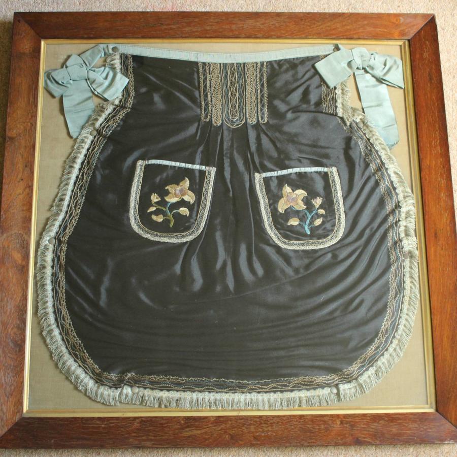 A Framed Victorian Hand Emroidered Silk Apron
