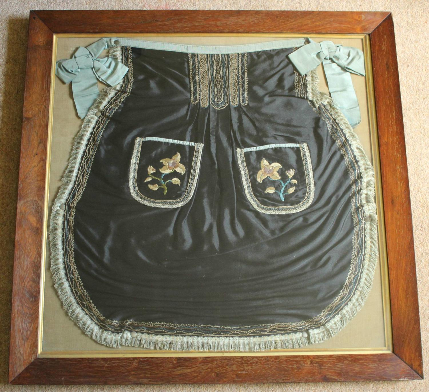 A Framed Victorian Hand Emroidered Silk Apron