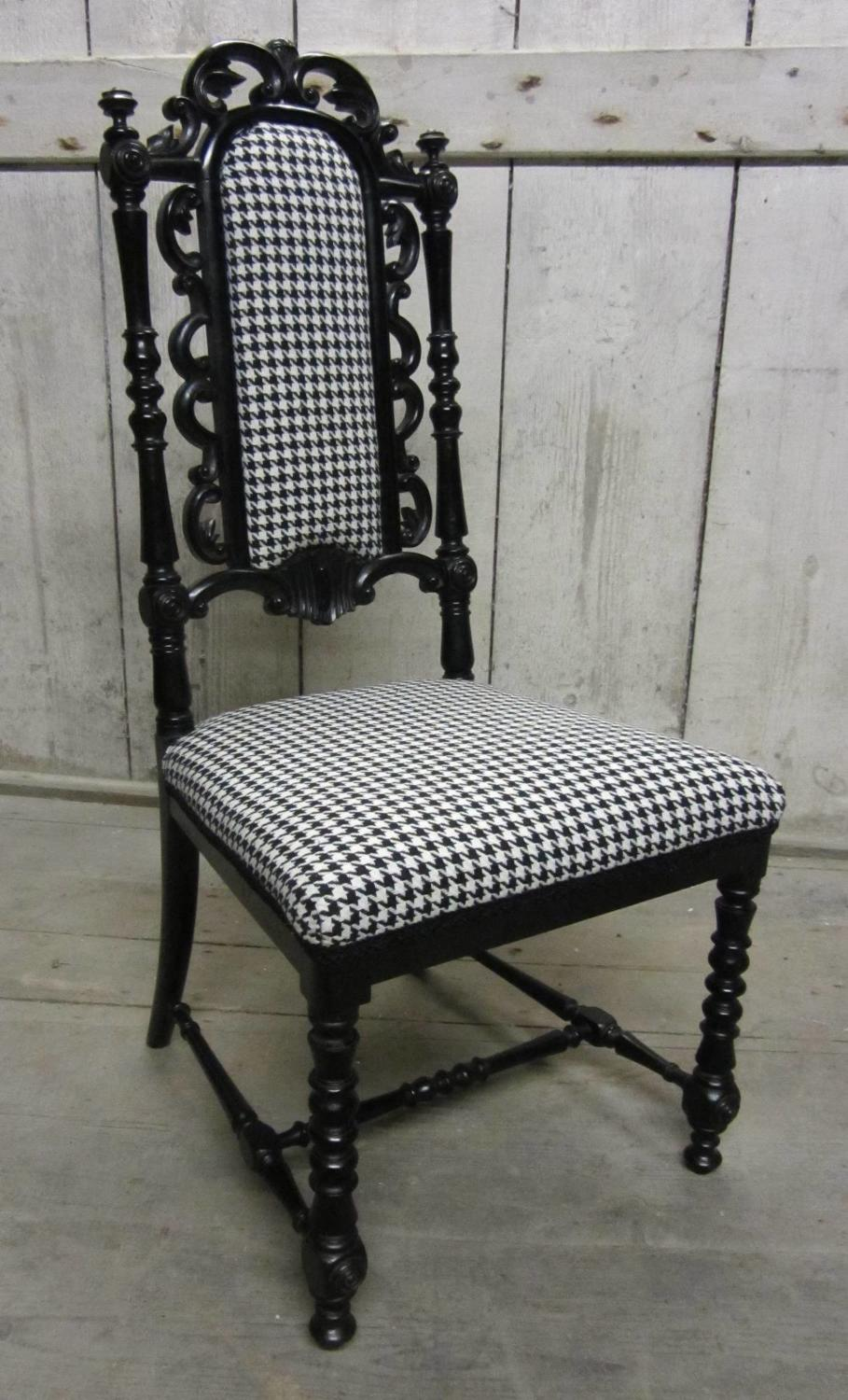A Good Quality Victorian Ebonised Slipper Chair