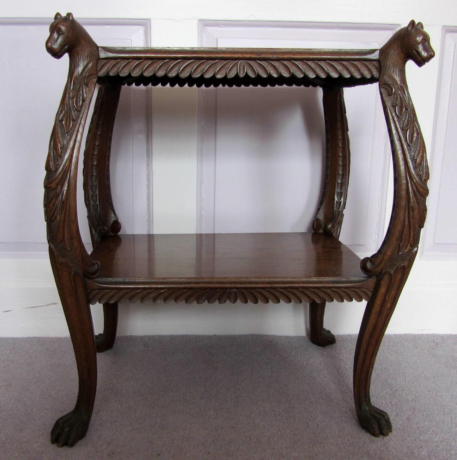 An Anglo-Indian Hardwood Side Table with Cats Head Terminals