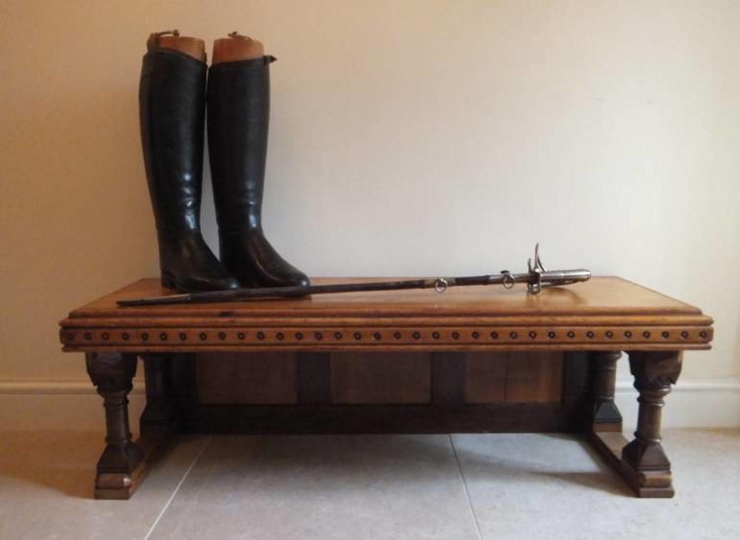A Victorian Gothic Revival Oak Hall Bench