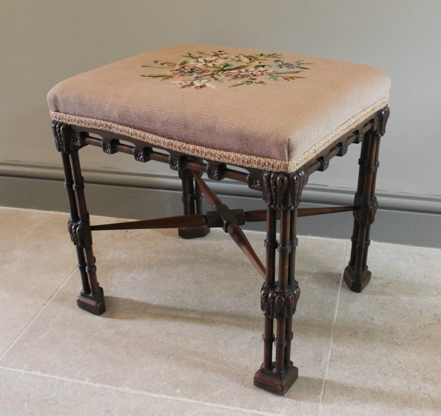 An Antique Mahogany Stool in Chippendale Style