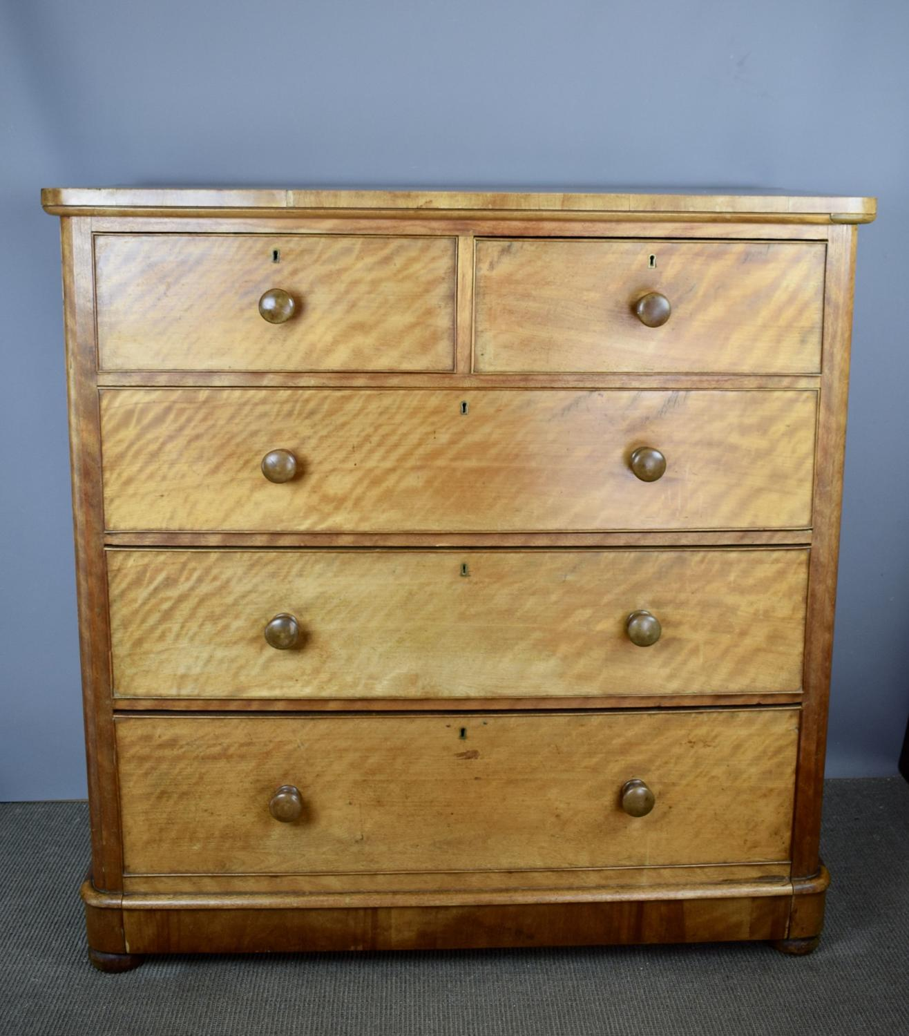 Victorian Satin Birch Chest of Drawers by Druce & Co.