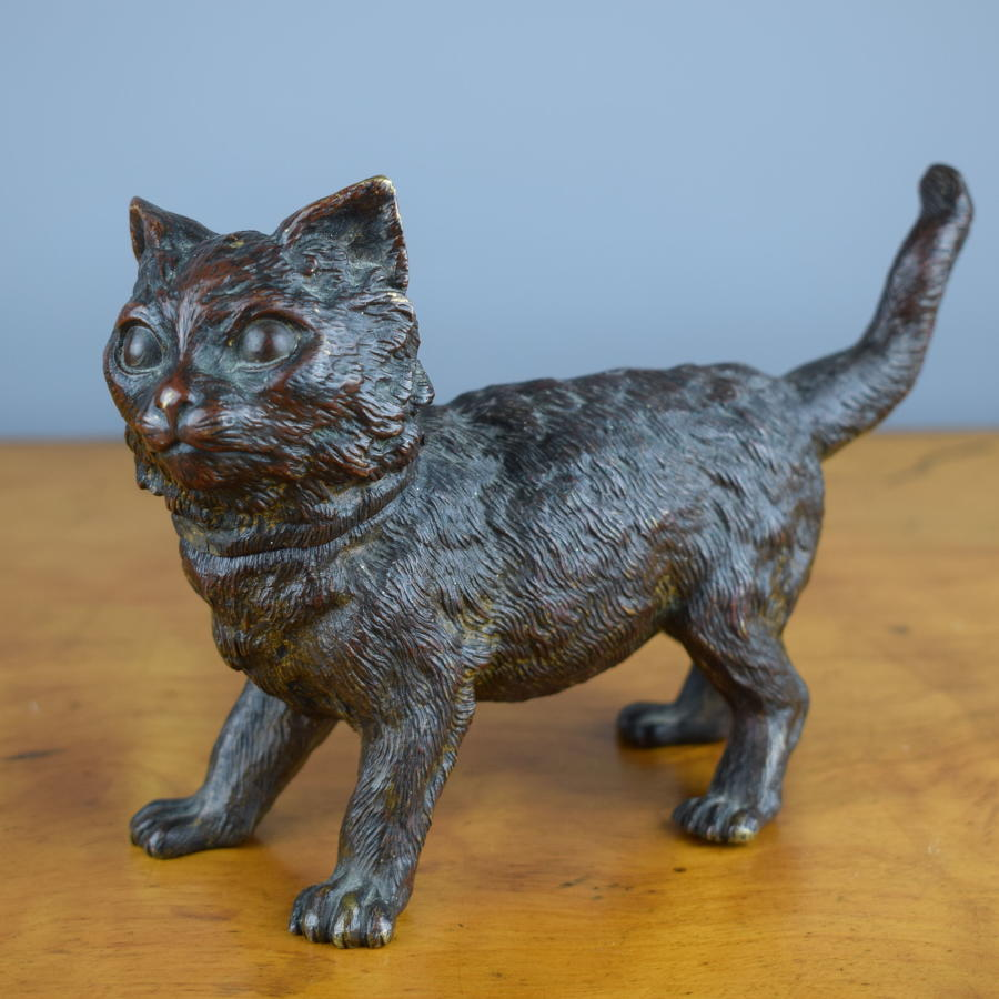 Austrian Cold Painted Bronze Cat Inkwell