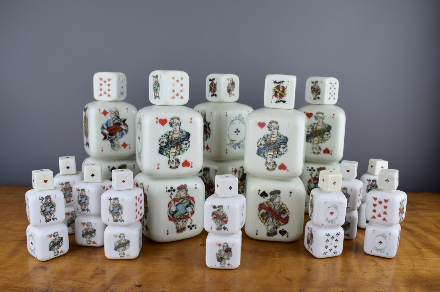 Collection of Italian Milk Glass 'Deck of Cards' Liqueur Decanters