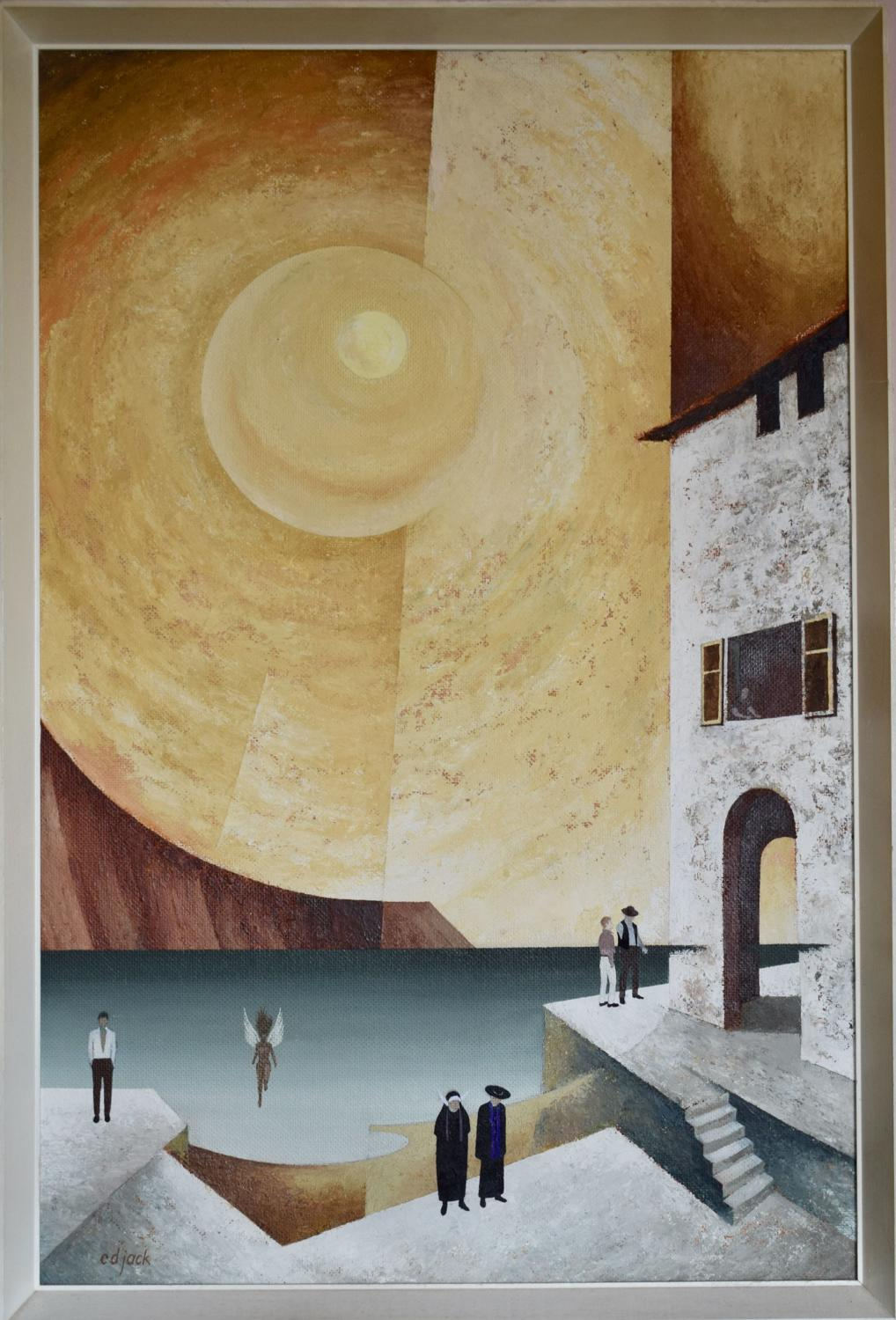 Surreal 1970's oil on board 'Below the Pyrenees' by C.D. Jack