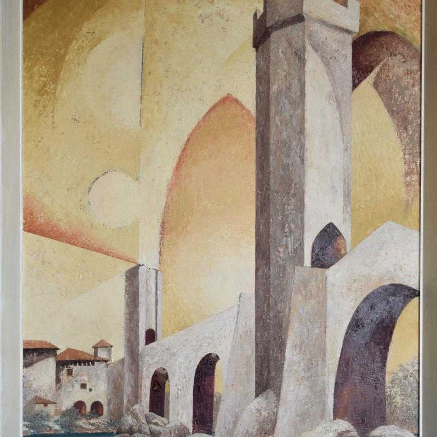 Surreal 1970's oil on board of Besalu Bridge, Girona by C.D. Jack