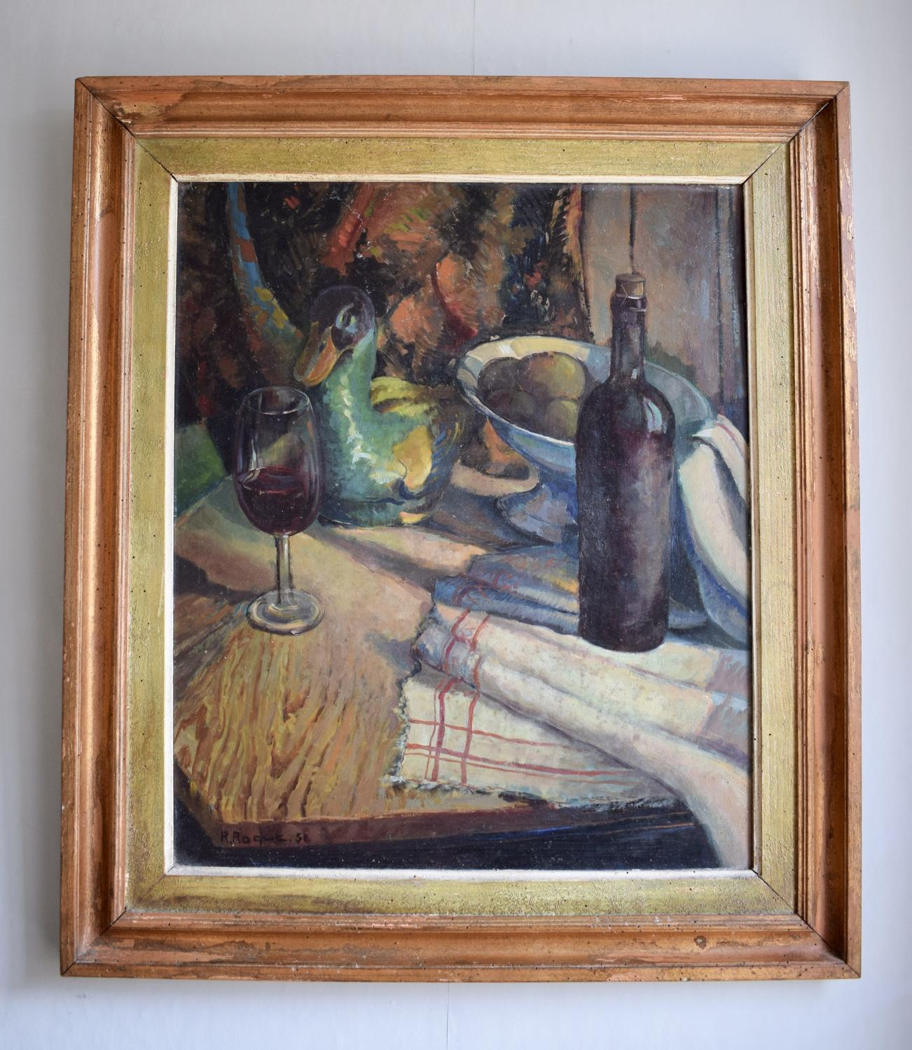 French Oil Still Life signed R. Roque '51