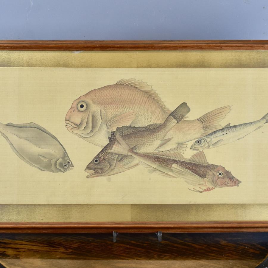 Japanese Watercolour on Silk of Sea Life