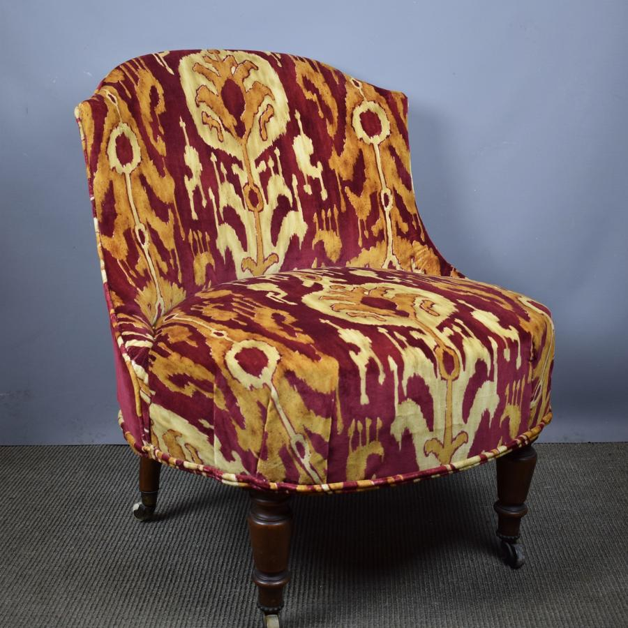 Antique Occasional Chair in Zoffany Kashgar Velvet