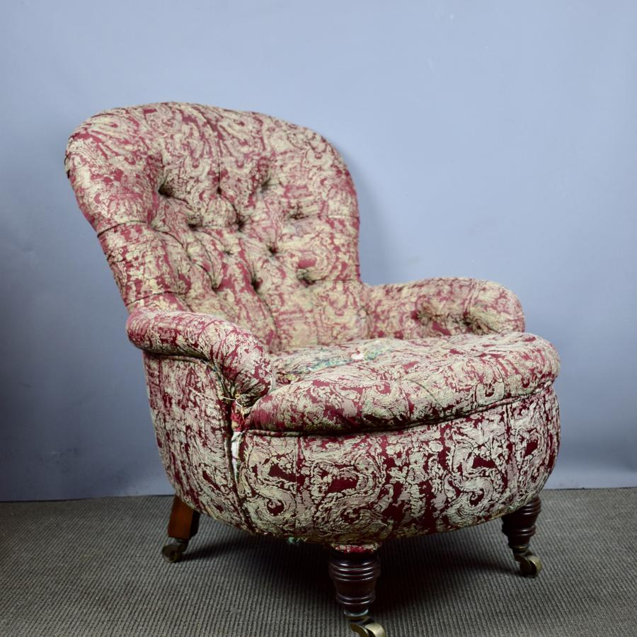 Antique Button Back Armchair for recovering