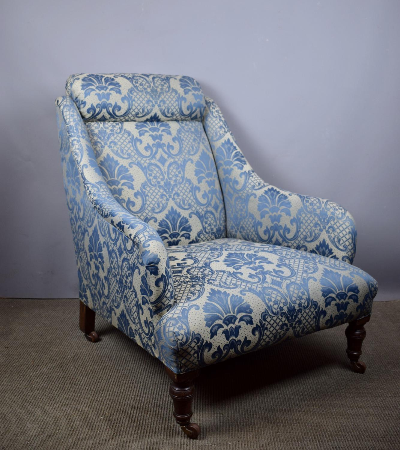 Antique Armchair in Blue Damask