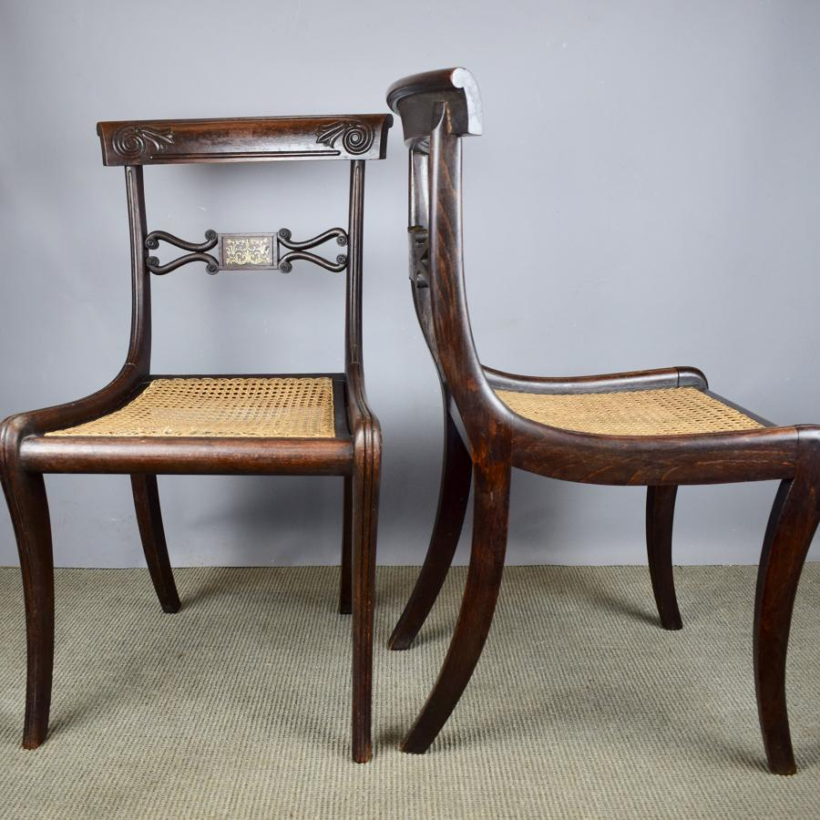 Pair of Regency Brass Inlaid Faux Rosewood Chairs