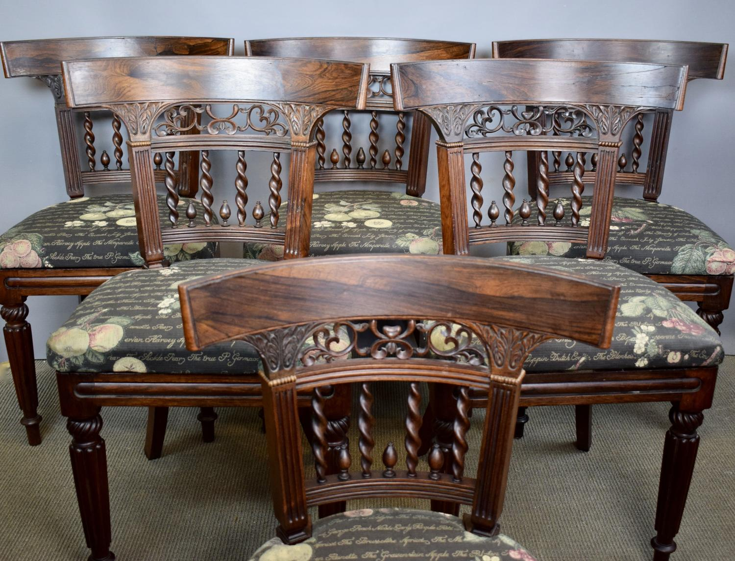 Set of Six Anglo Indian Rosewood Dining Chairs