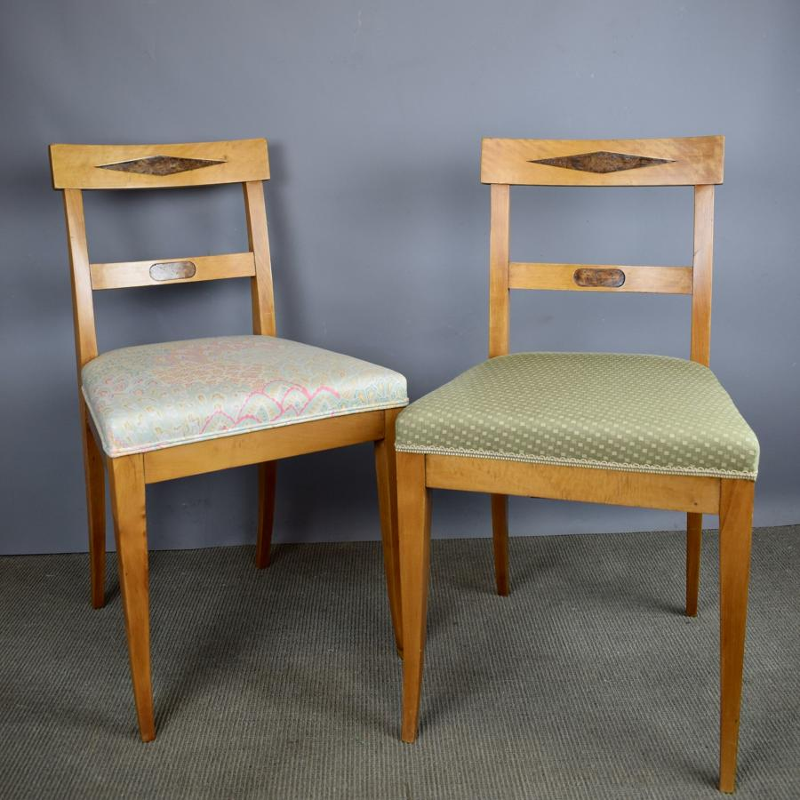 Pair of Biedermeier Inlaid Satinwood Chairs