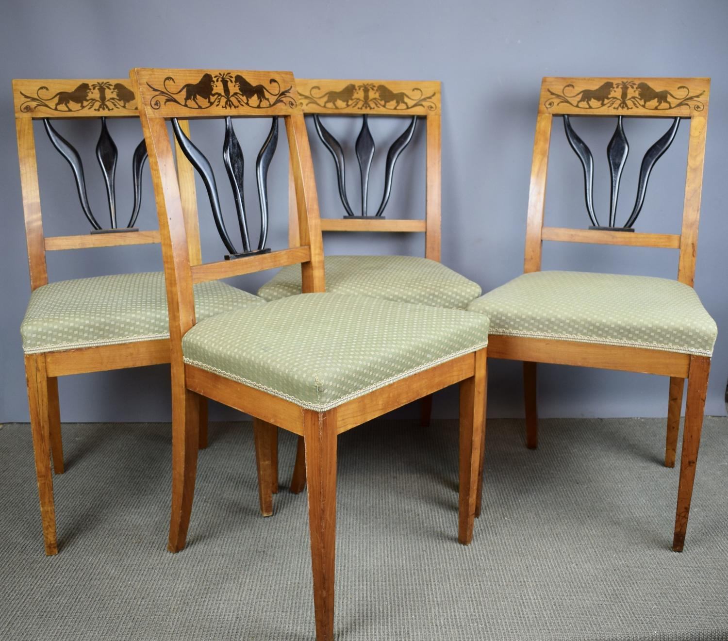 Set of Four Biedermeier Inlaid Satinwood Chairs