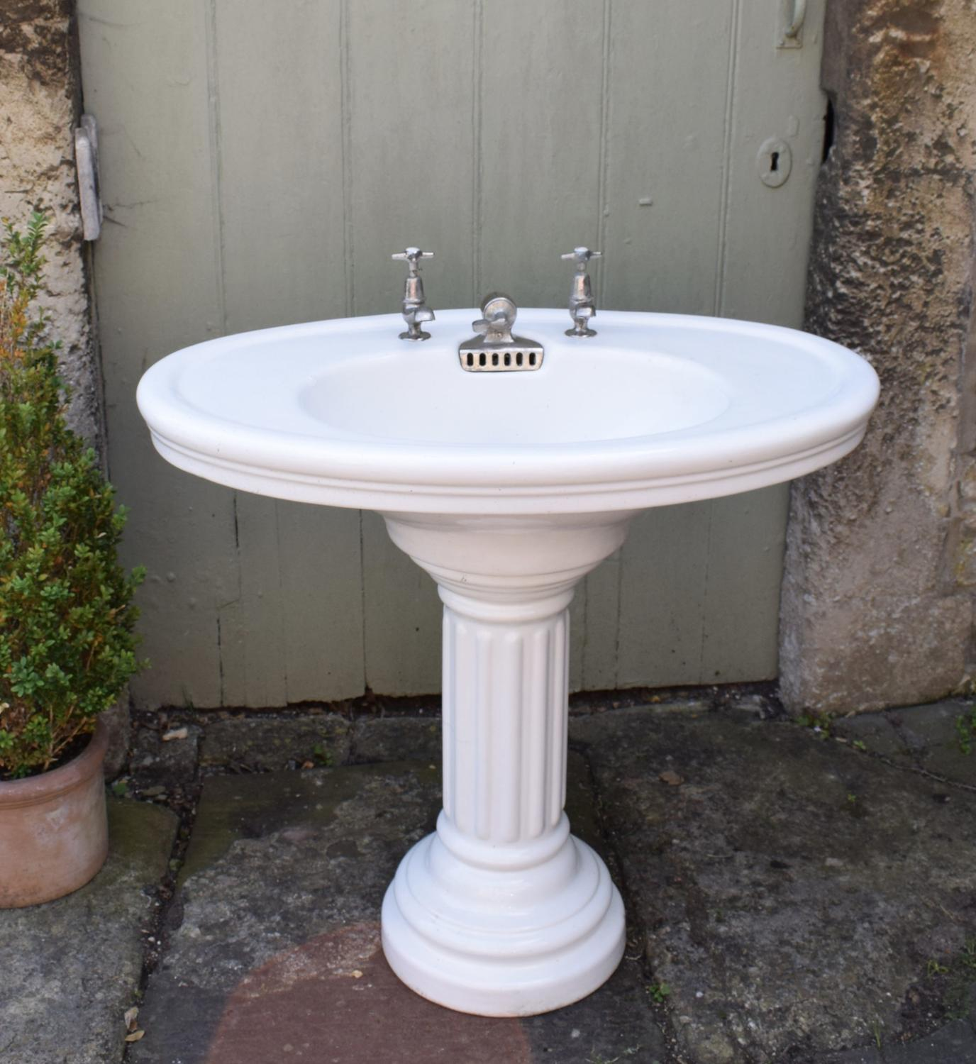 Antique French Chateau Pedestal Sink