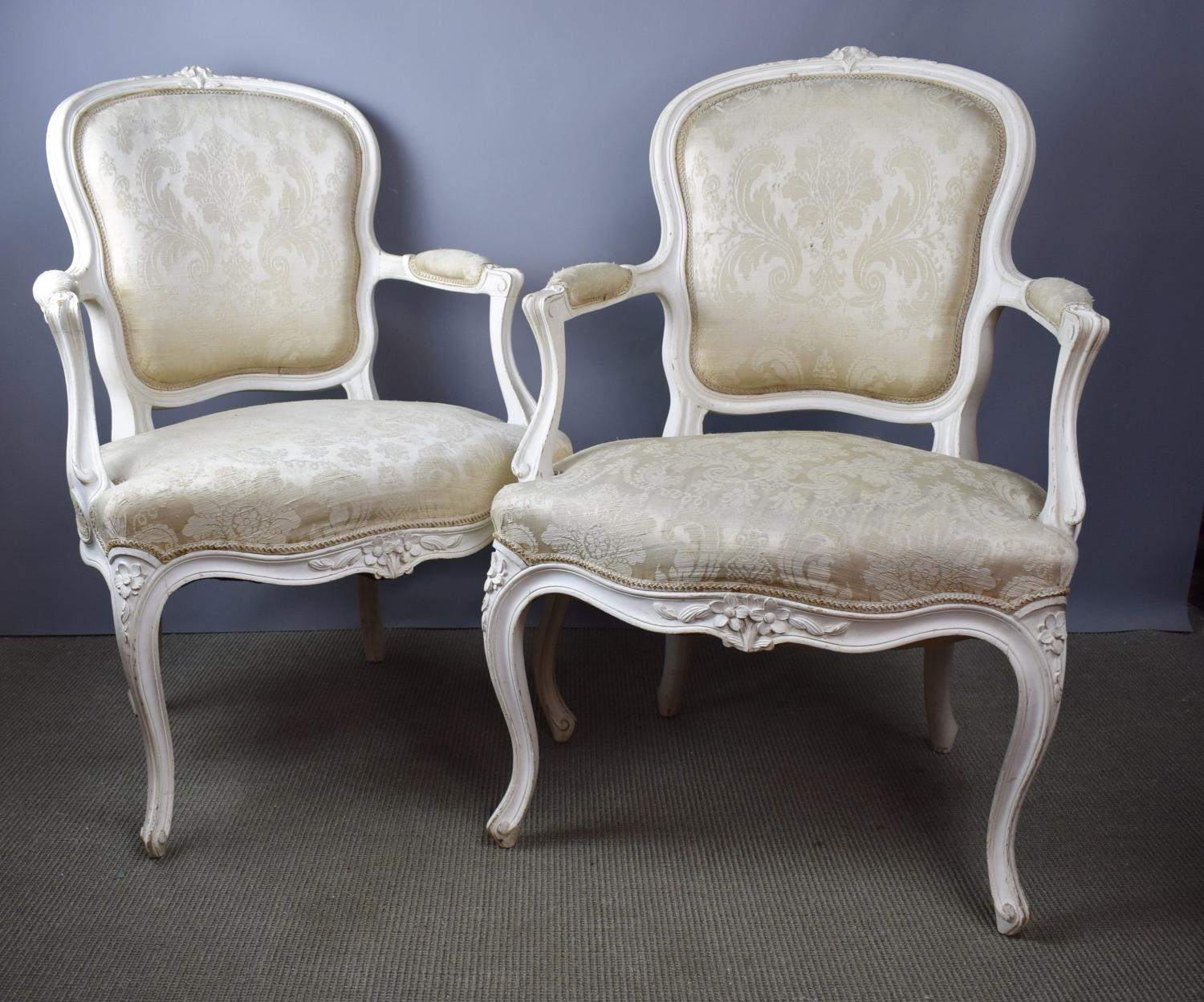 Pair of French Louis XV Style Fauteuils