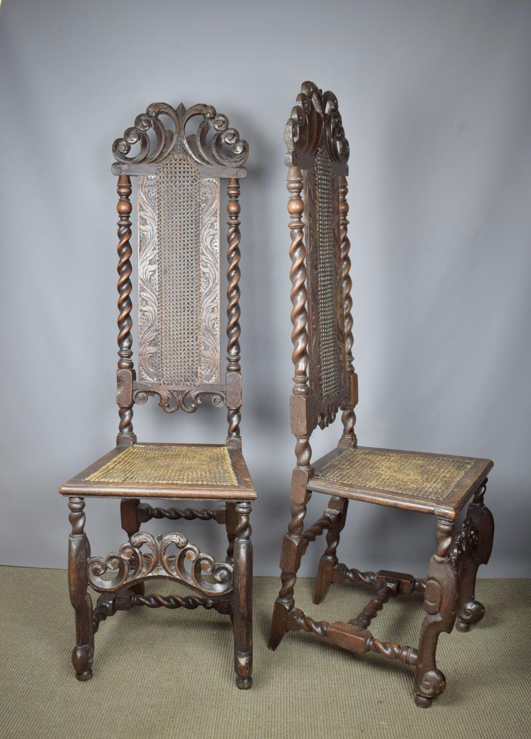 Pair of William & Mary Caned High Back Chairs