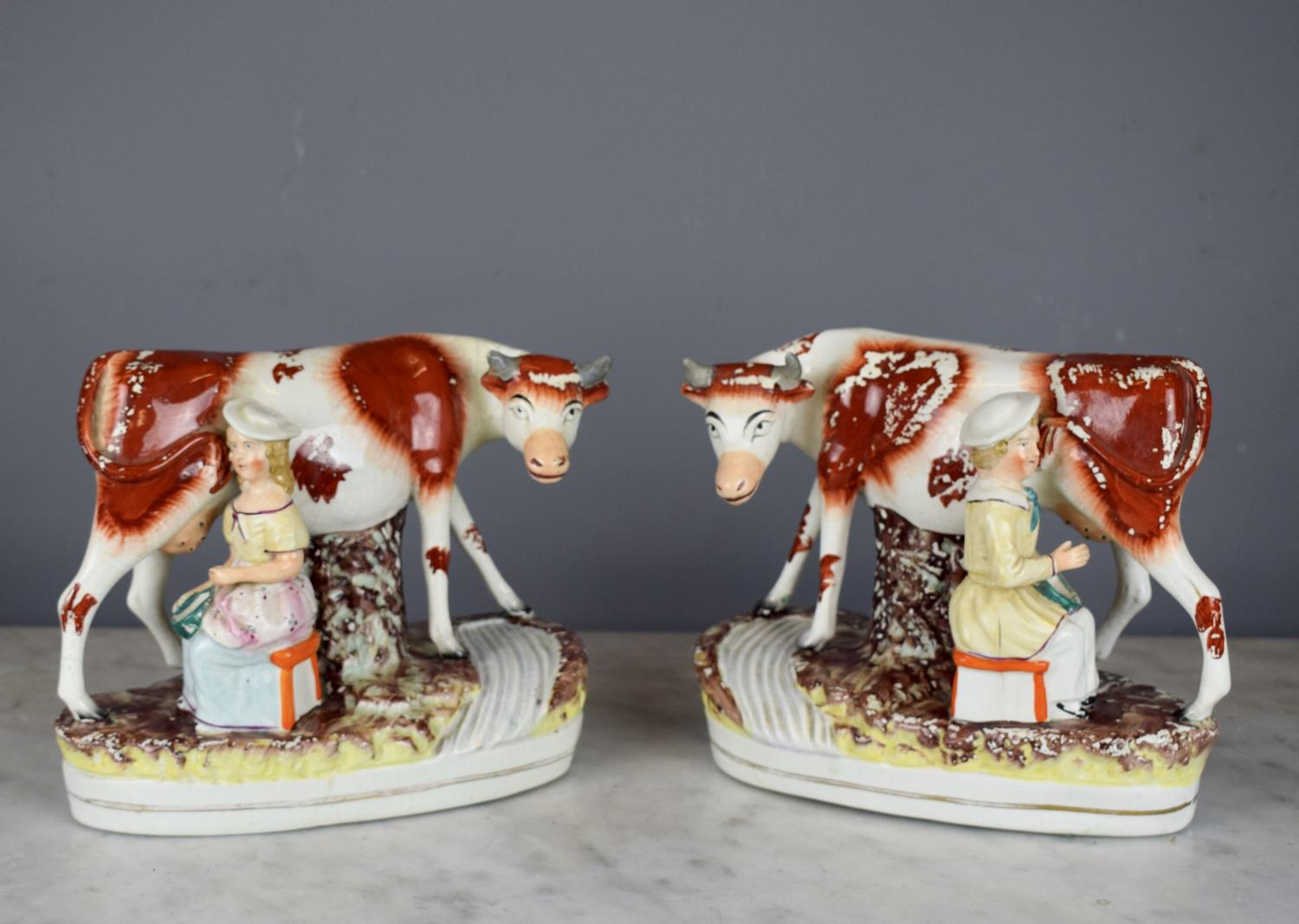 Victorian Staffodshire Pottery Cow and Milkmaid Figure Groups