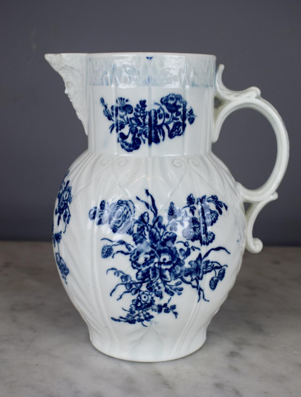 Worcester Blue & White Cabbage Leaf Mask Jug circa 1770