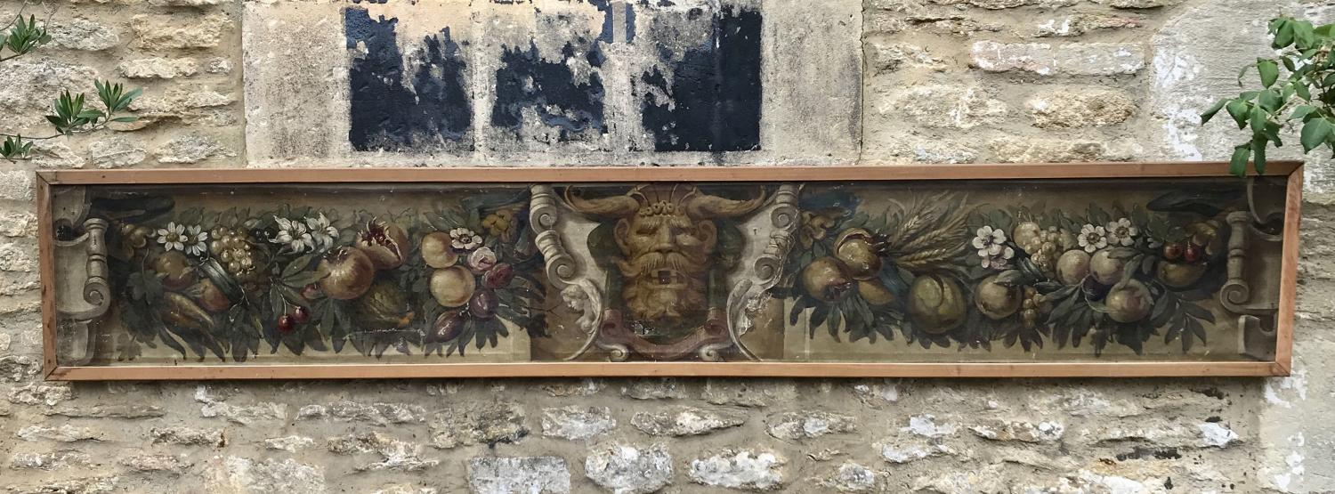 Large Italian Trompe L'Oeil Painted Architectural Panel