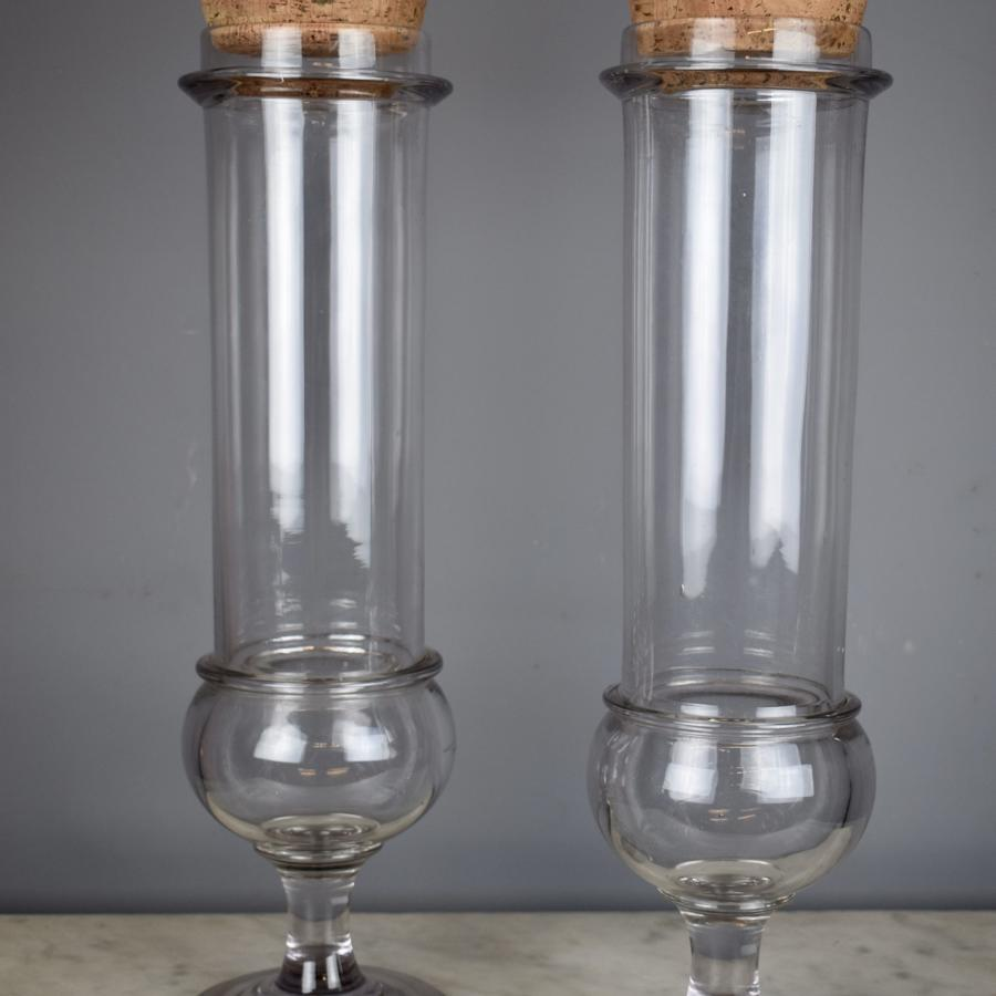 Pair of Antique French Glass Apothecary Jars