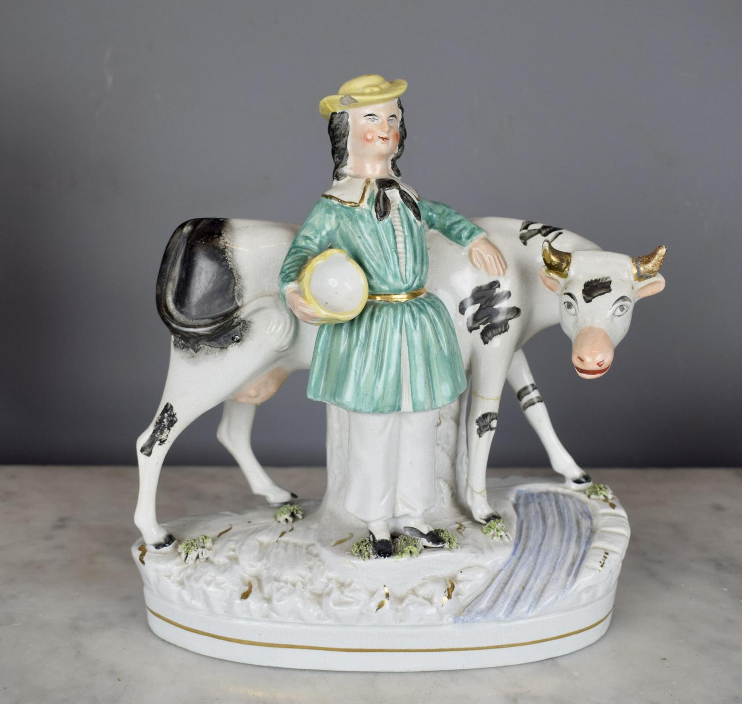 Victorian Staffordshire Pottery Cow Group
