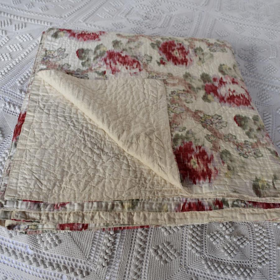 Antique Victorian Hand Stitched Floral Double Quilt