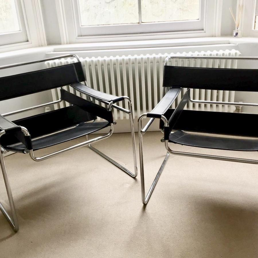Pair of Marcel Breuer Wassily Chairs, Retailed by Habitat circa 1980