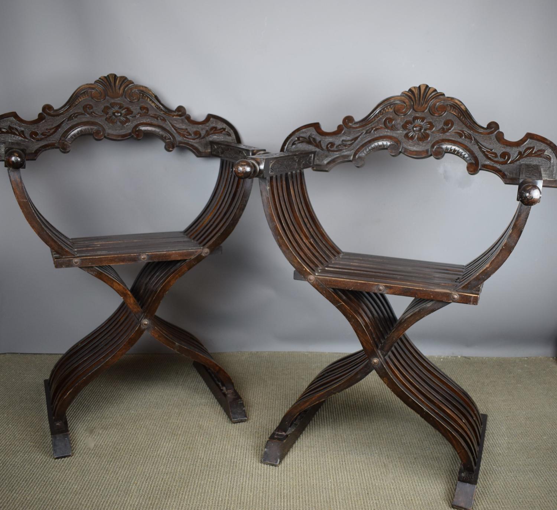 Pair of Italian X Framed Savonarola Chairs