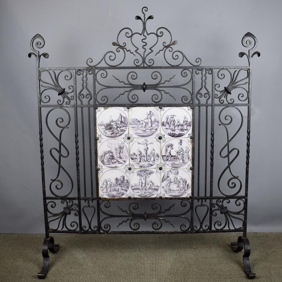 Wrought Iron Firescreen Inset with 18th Century Manganese Delft Tiles