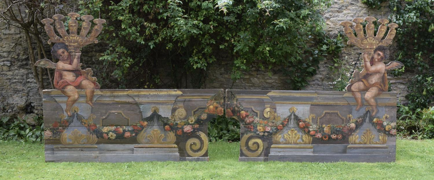 Pair of Spectacular Italian Trompe L'Oeil Painted Church Altar Boards