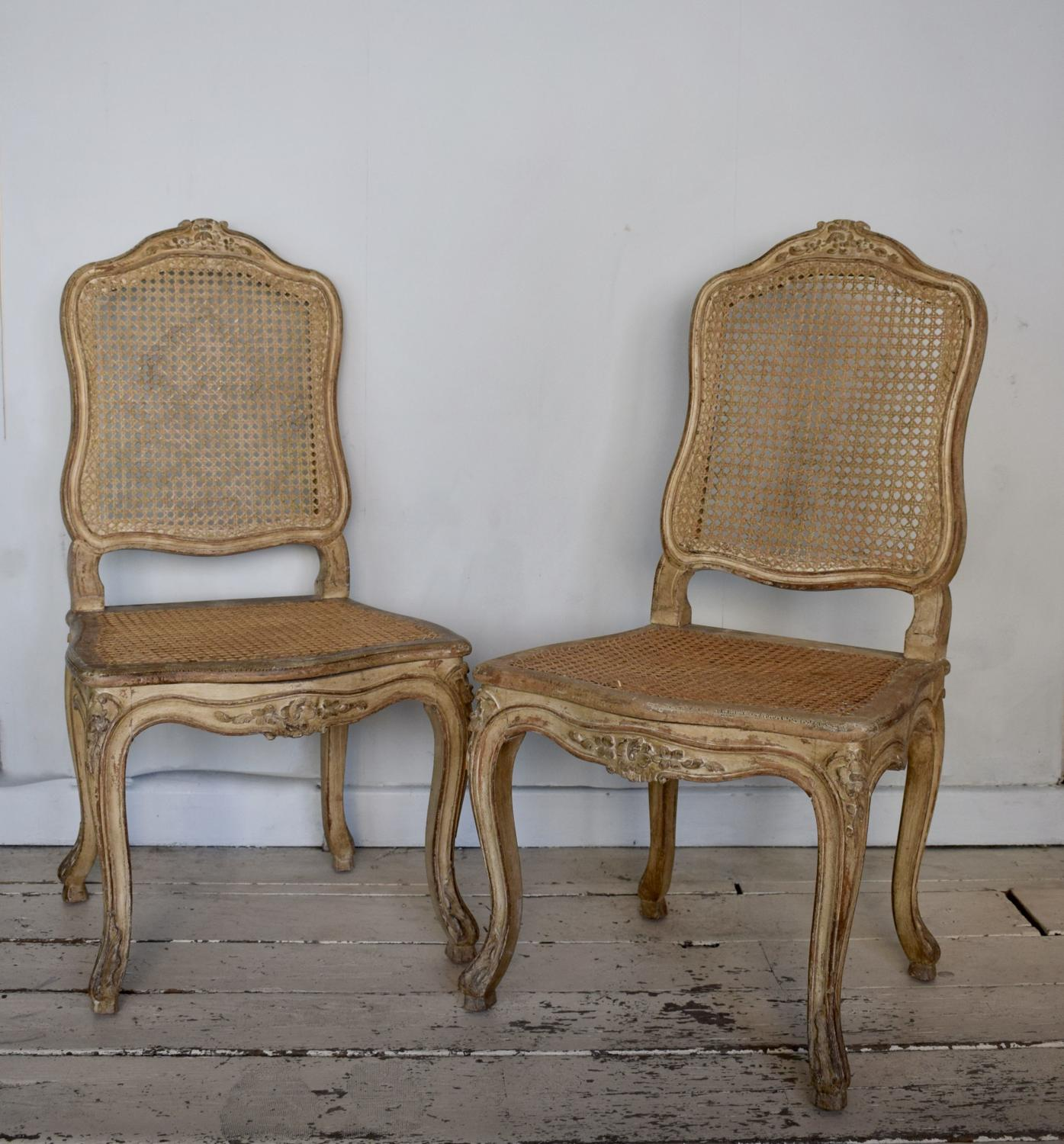 Pair of Painted Louis XV Style Cane Side Chairs
