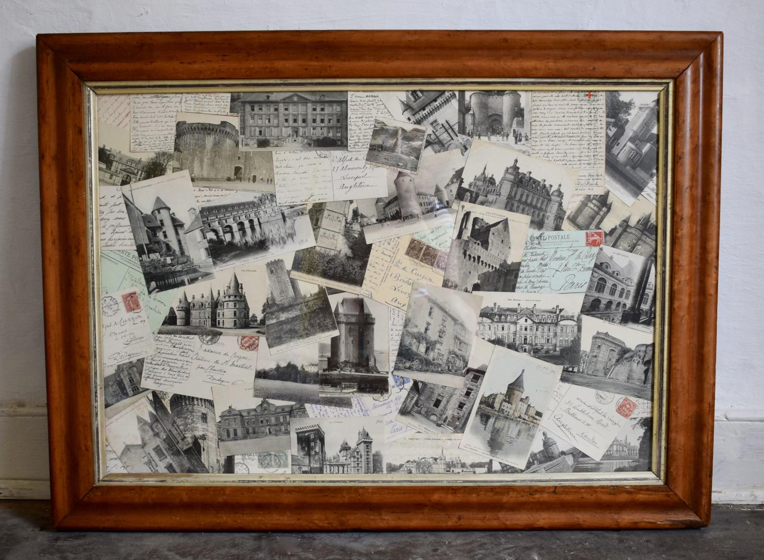 Framed Montage of Postcards of French Chateaux circa 1910