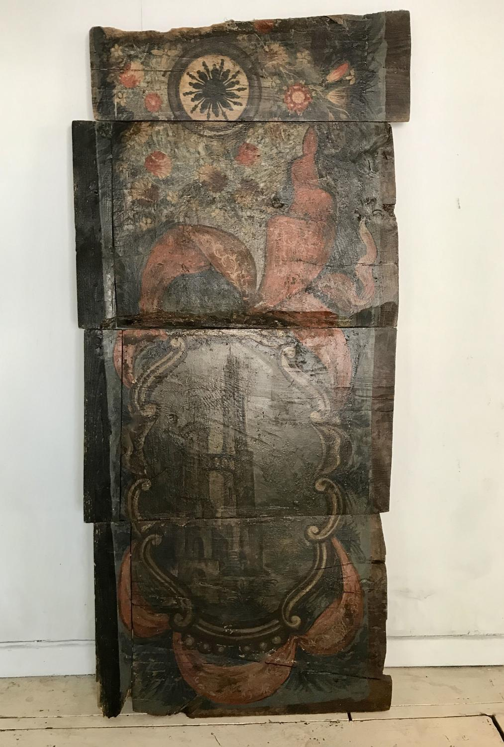 Pair of Large 18th C Italian Hand Painted Trompe L'Oeil Panels