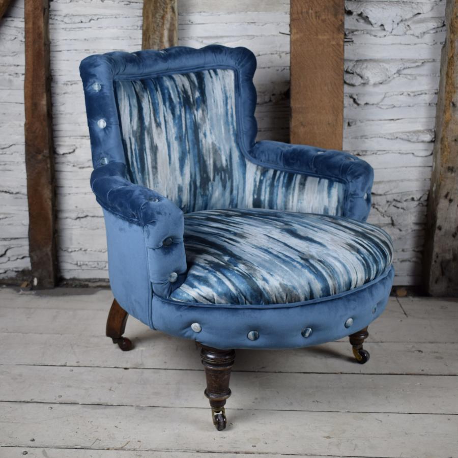 Small Antique Victorian Blue Velvet Armchair