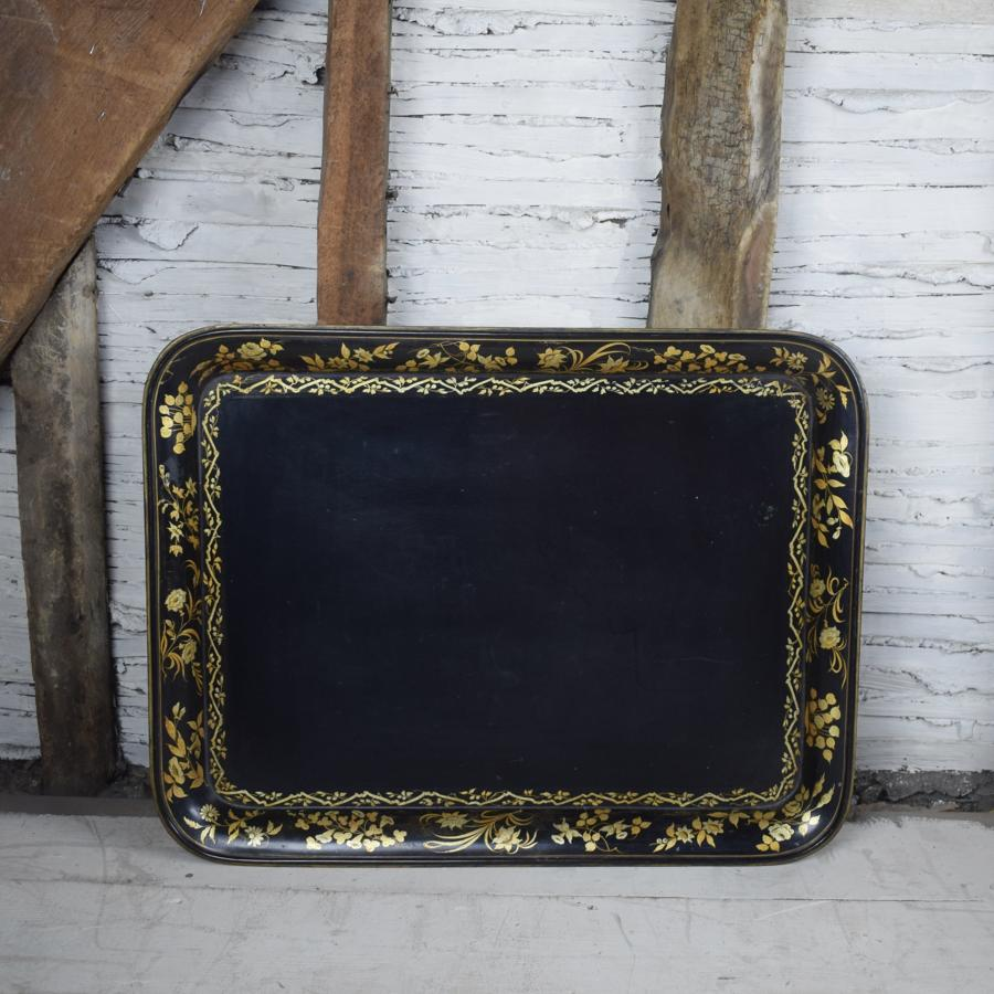 Regency Papier Mache Tray with Gilt Foliate Border