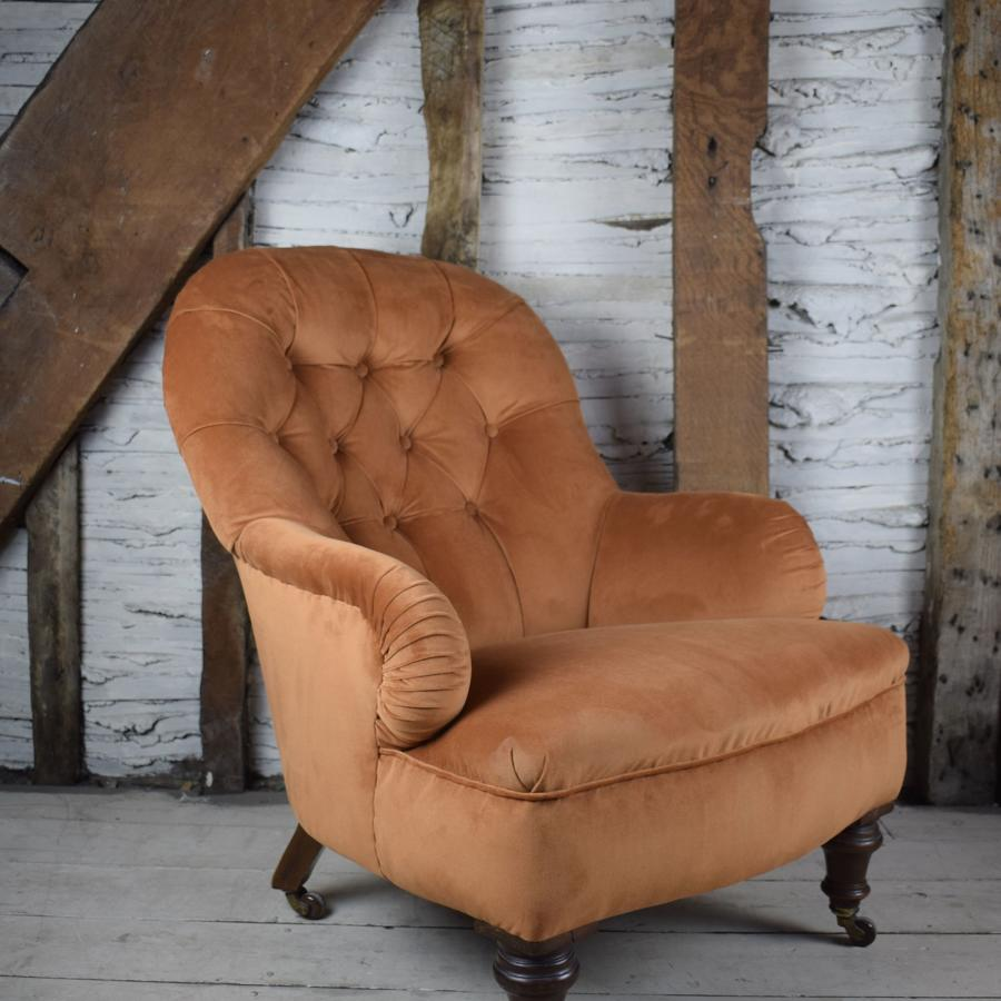 Antique Burnt Orange Velvet Button Back Armchair by Cornelius V Smith