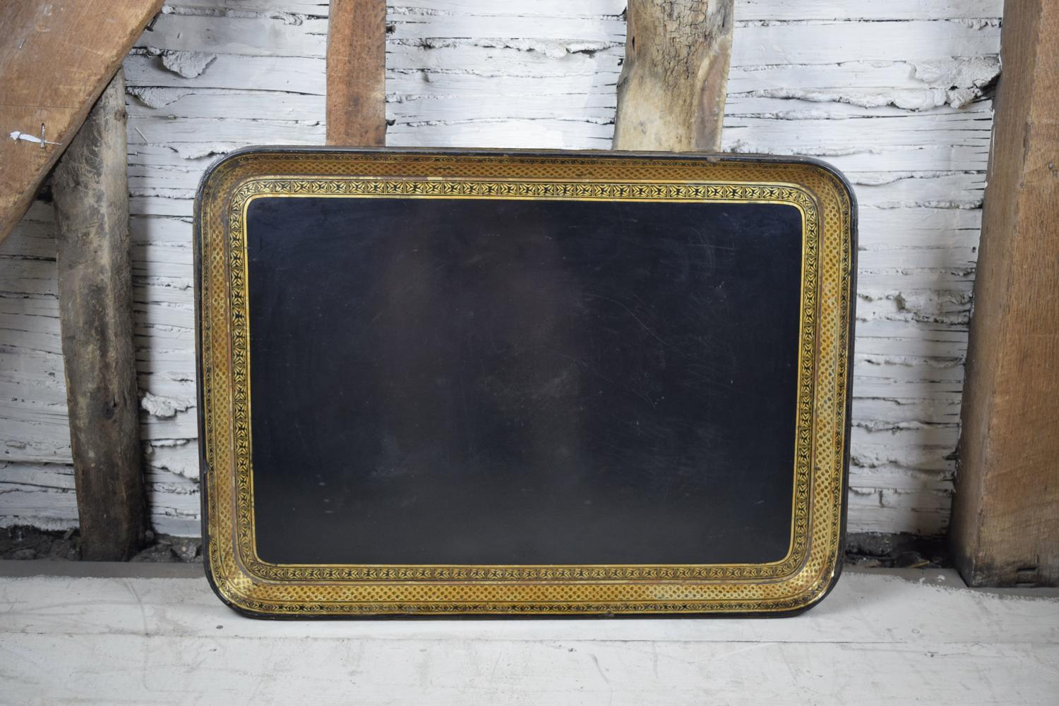Large Regency Gilt Decorated Papier Mache Tray