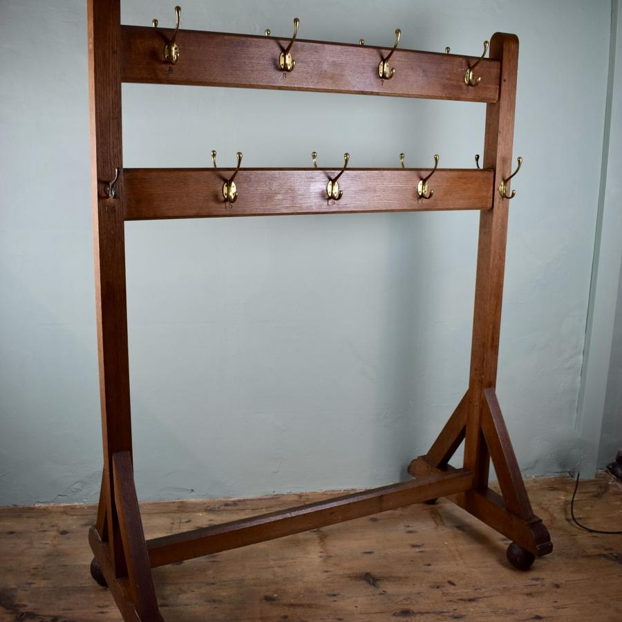 Edwardian Oak Schoolroom Double Sided Coatrack