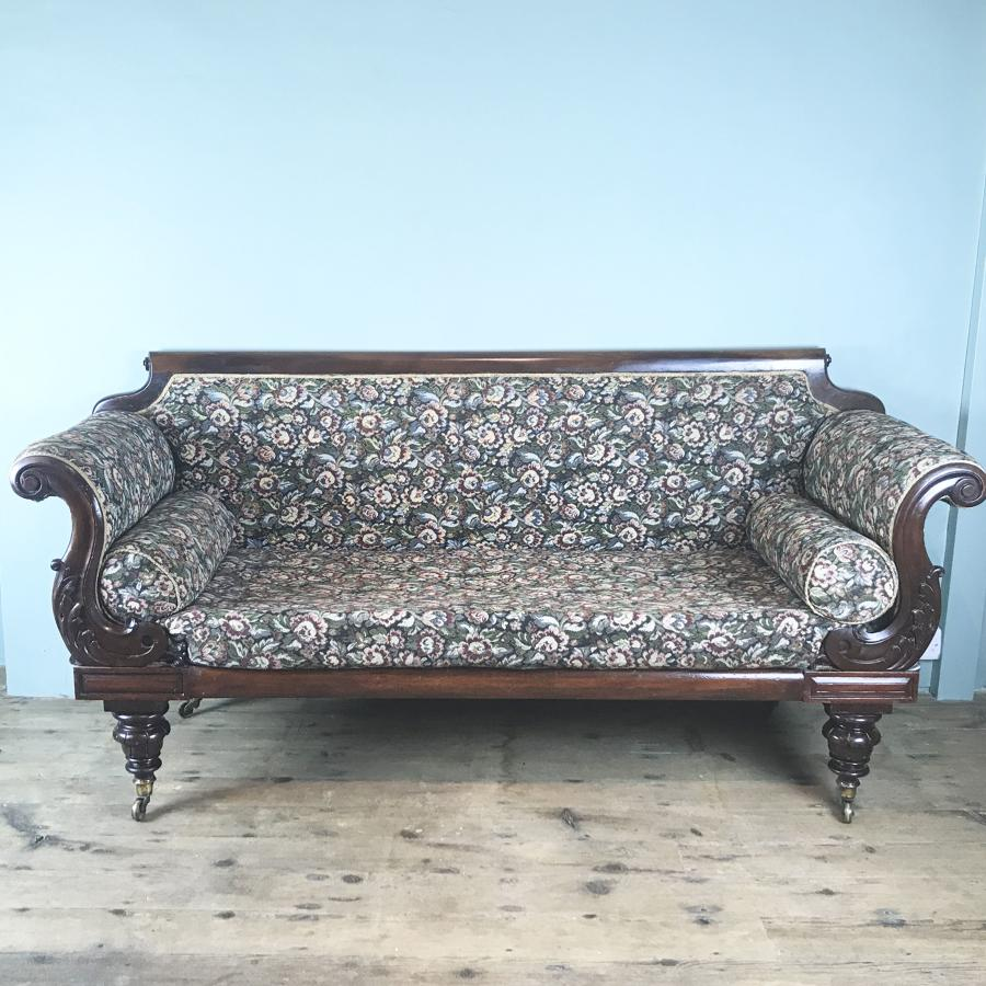 William IV Mahogany Scroll End Sofa