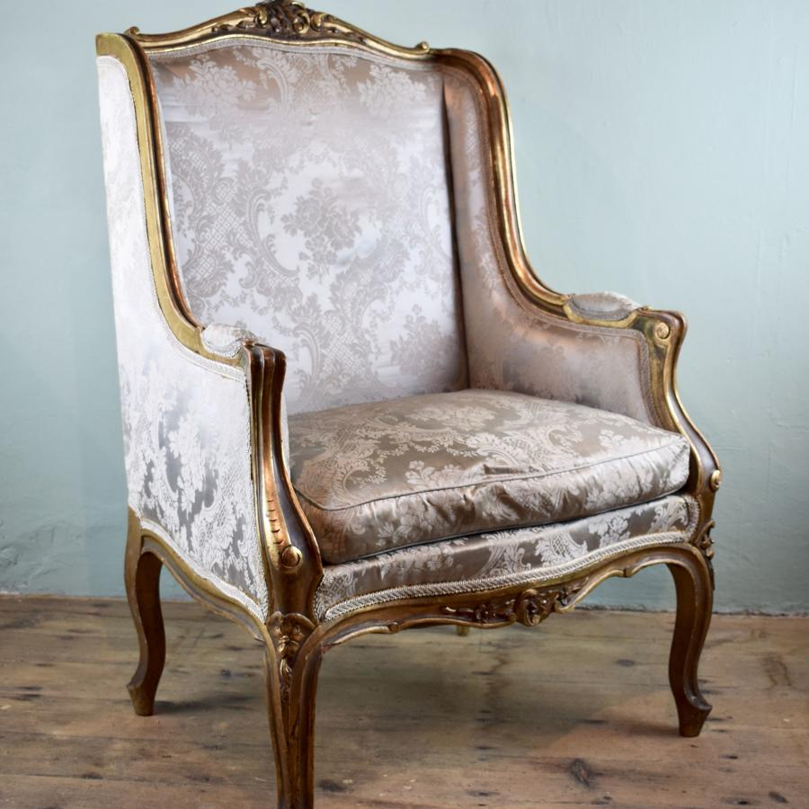 Antique French Giltwood Wingback Armchair in Louis XV Style