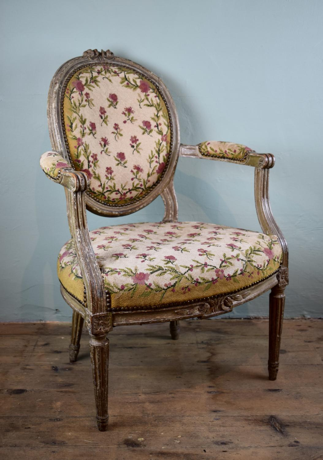 Antique French Fauteuil in Original Paint with Needlework Upholstery