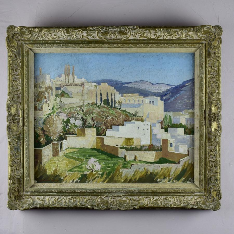 Norman Lloyd Oil on Canvas of a Mediterranean Hilltop Village