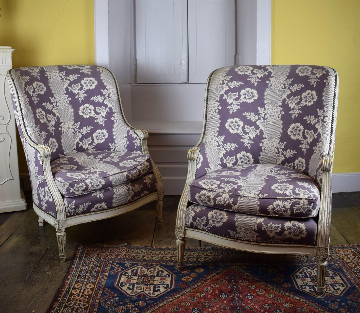 Pair of Louis XVI Style Tub Armchairs