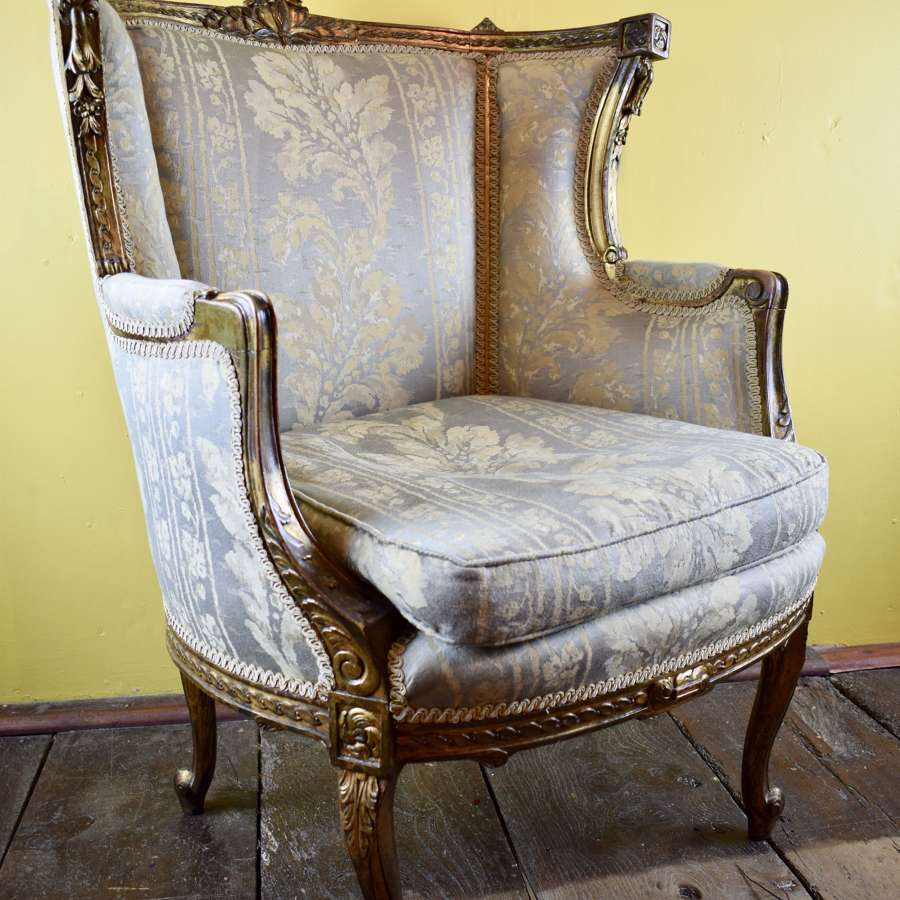 French Giltwood Wingback Armchair in Louis XVI Style