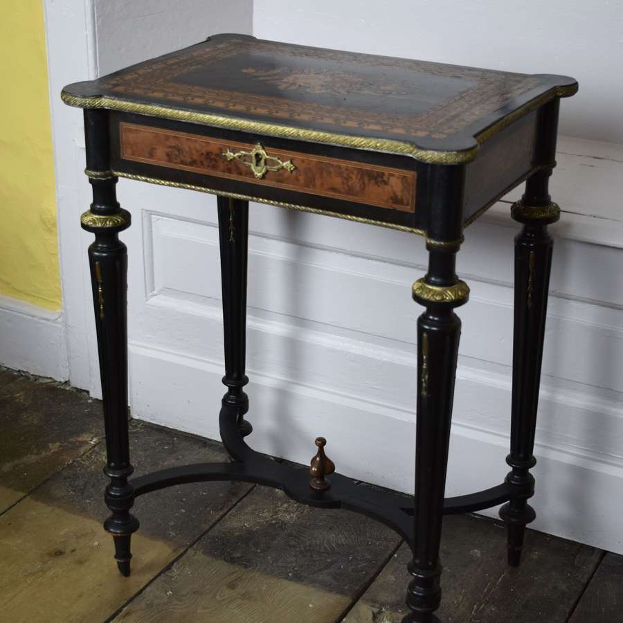 French Napoleon III Marquetry Inlaid Sewing Table