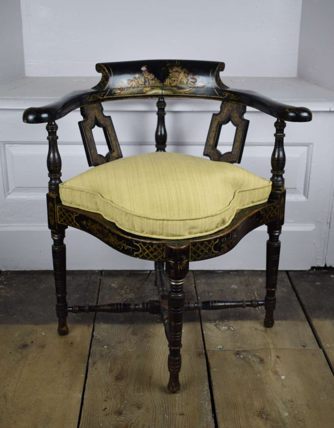 Edwardian Black Chinoiserie Corner Chair